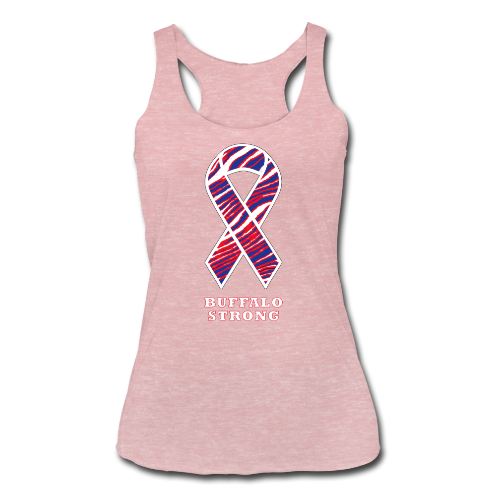 Women's Buffalo Strong Tri-Blend Racerback Tank - heather dusty rose