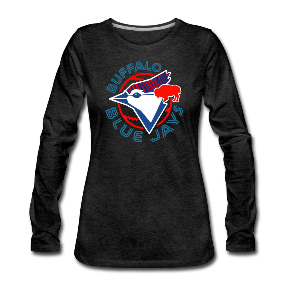 Women's Buffalo Blue Jays Premium Long Sleeve Shirt - charcoal gray