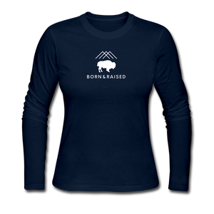B&R Women's Long Sleeve Jersey T-Shirt - navy