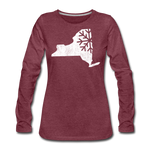 Women's Snow Premium Long Sleeve T-Shirt - heather burgundy