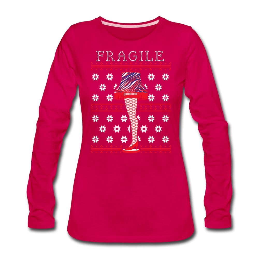 Women's Fragile Christmas Premium Long Sleeve T-Shirt - dark pink