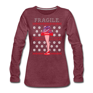 Women's Fragile Christmas Premium Long Sleeve T-Shirt - heather burgundy