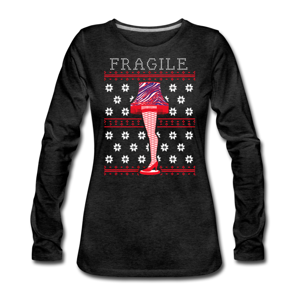 Women's Fragile Christmas Premium Long Sleeve T-Shirt - charcoal gray