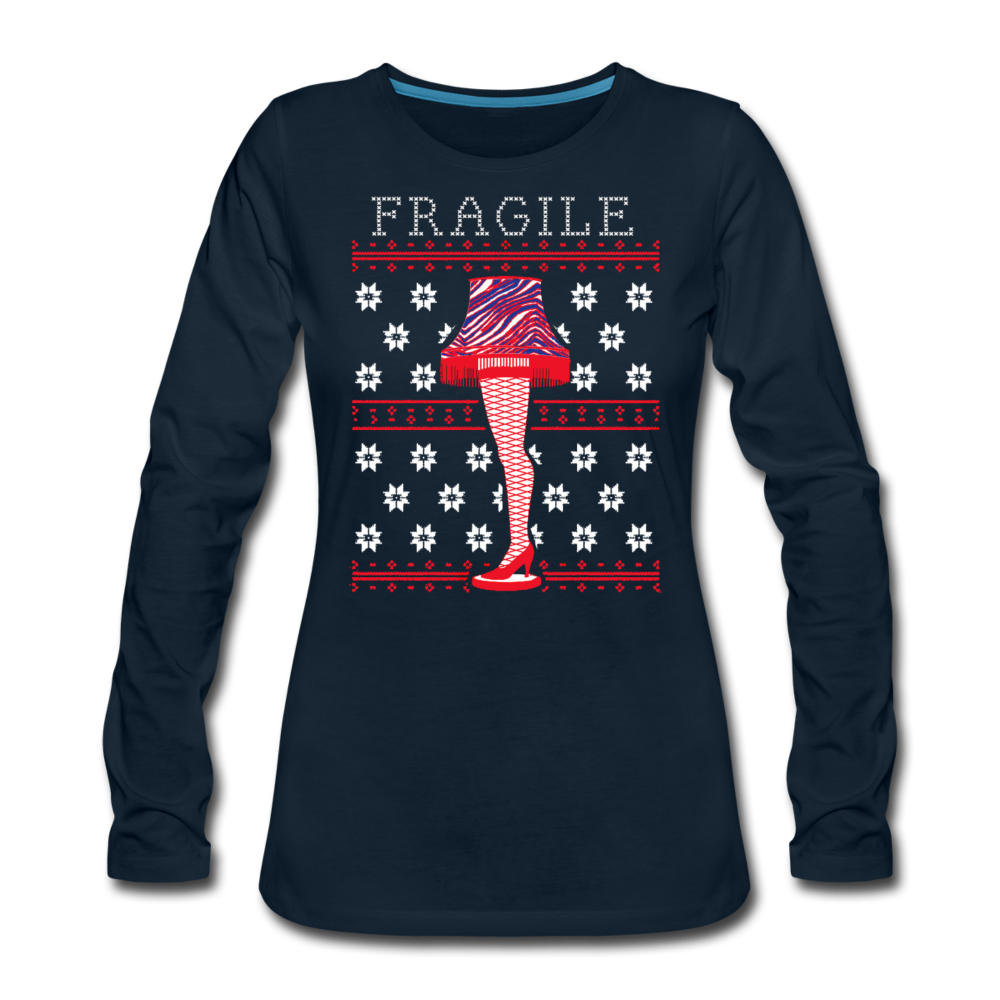 Women's Fragile Christmas Premium Long Sleeve T-Shirt - deep navy
