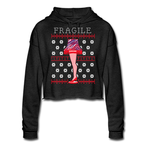 Women's Fragile Christmas Cropped Hoodie - deep heather