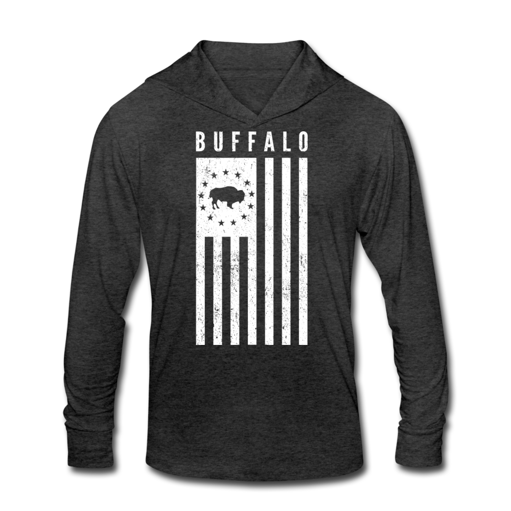 Unisex Buffalo USA Tri-Blend Hoodie Shirt - heather black