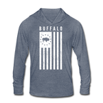 Unisex Buffalo USA Tri-Blend Hoodie Shirt - heather blue