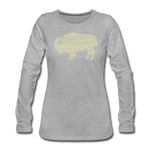 Women's Tribal Bison Premium Long Sleeve T-Shirt - heather gray