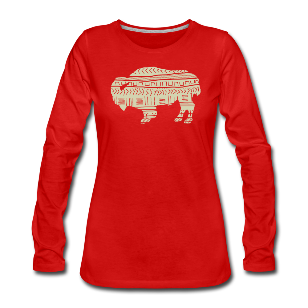 Women's Tribal Bison Premium Long Sleeve T-Shirt - red