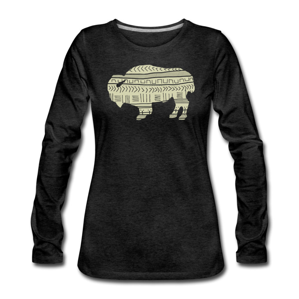 Women's Tribal Bison Premium Long Sleeve T-Shirt - charcoal gray
