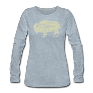 Women's Tribal Bison Premium Long Sleeve T-Shirt - heather ice blue