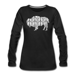 Women's Stained Glass Bison Premium Slim Fit Long Sleeve T-Shirt - black