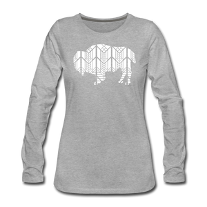 Women's Stained Glass Bison Premium Slim Fit Long Sleeve T-Shirt - heather gray