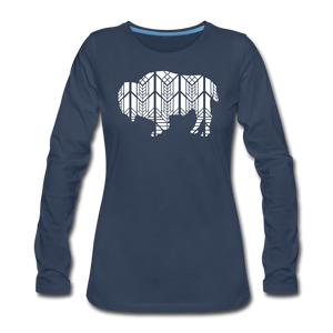 Women's Stained Glass Bison Premium Slim Fit Long Sleeve T-Shirt - navy