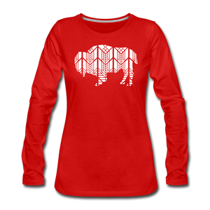 Women's Stained Glass Bison Premium Slim Fit Long Sleeve T-Shirt - red