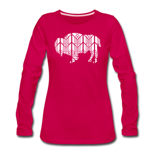 Women's Stained Glass Bison Premium Slim Fit Long Sleeve T-Shirt - dark pink