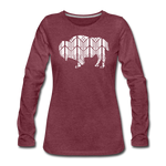 Women's Stained Glass Bison Premium Slim Fit Long Sleeve T-Shirt - heather burgundy