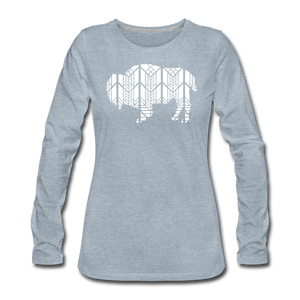 Women's Stained Glass Bison Premium Slim Fit Long Sleeve T-Shirt - heather ice blue