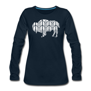 Women's Stained Glass Bison Premium Slim Fit Long Sleeve T-Shirt - deep navy