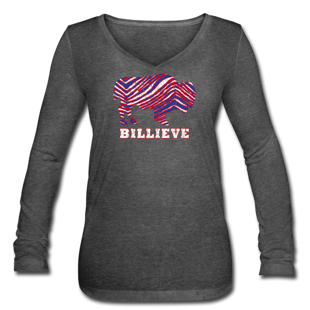 Women's Billieve V-Neck Flowy Long Sleeve - deep heather