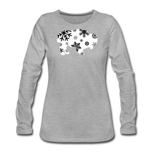 Women's Bison Snow Premium Long Sleeve T-Shirt - heather gray