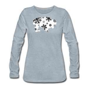 Women's Bison Snow Premium Long Sleeve T-Shirt - heather ice blue