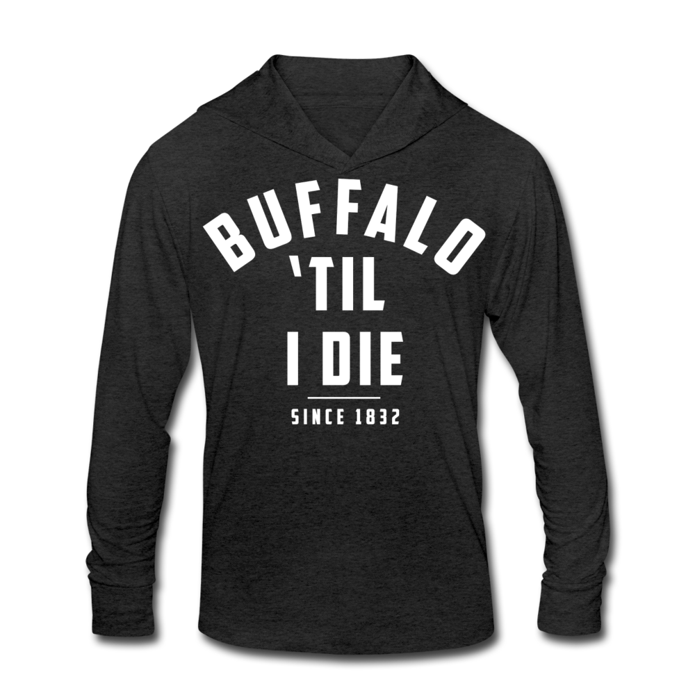 Unisex 'Til I Die Tri-Blend Hoodie Shirt - heather black