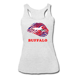 Women's Lips Tri-Blend Racerback Tank - heather white