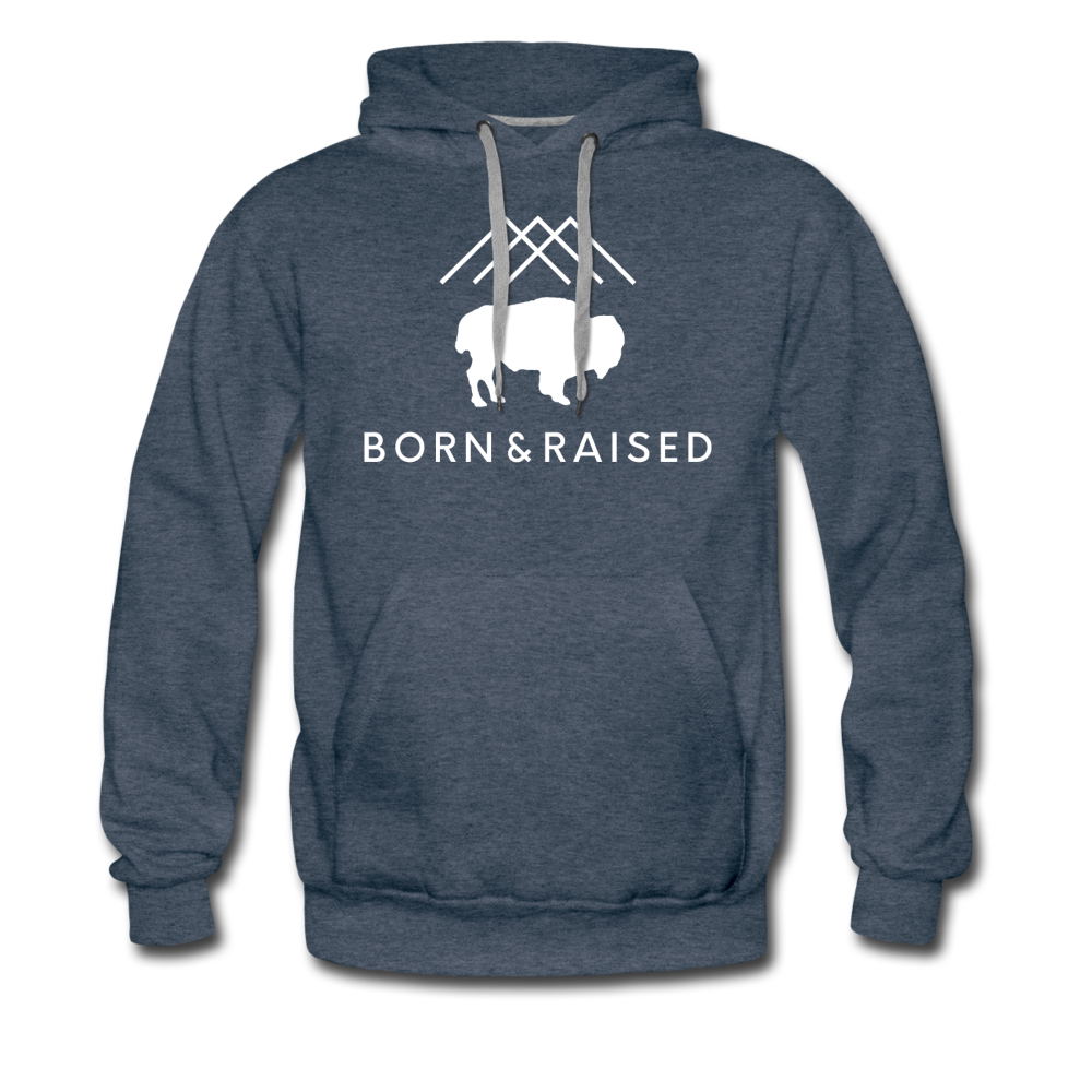 Men's B&R Premium Hoodie - heather denim