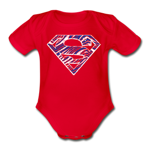 Organic Superman Short Sleeve Baby Bodysuit - red