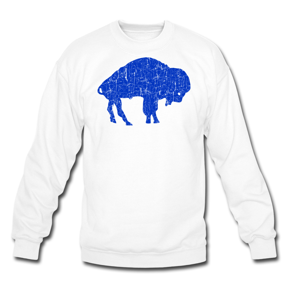 Unisex Blue Bison Crewneck Sweatshirt - white