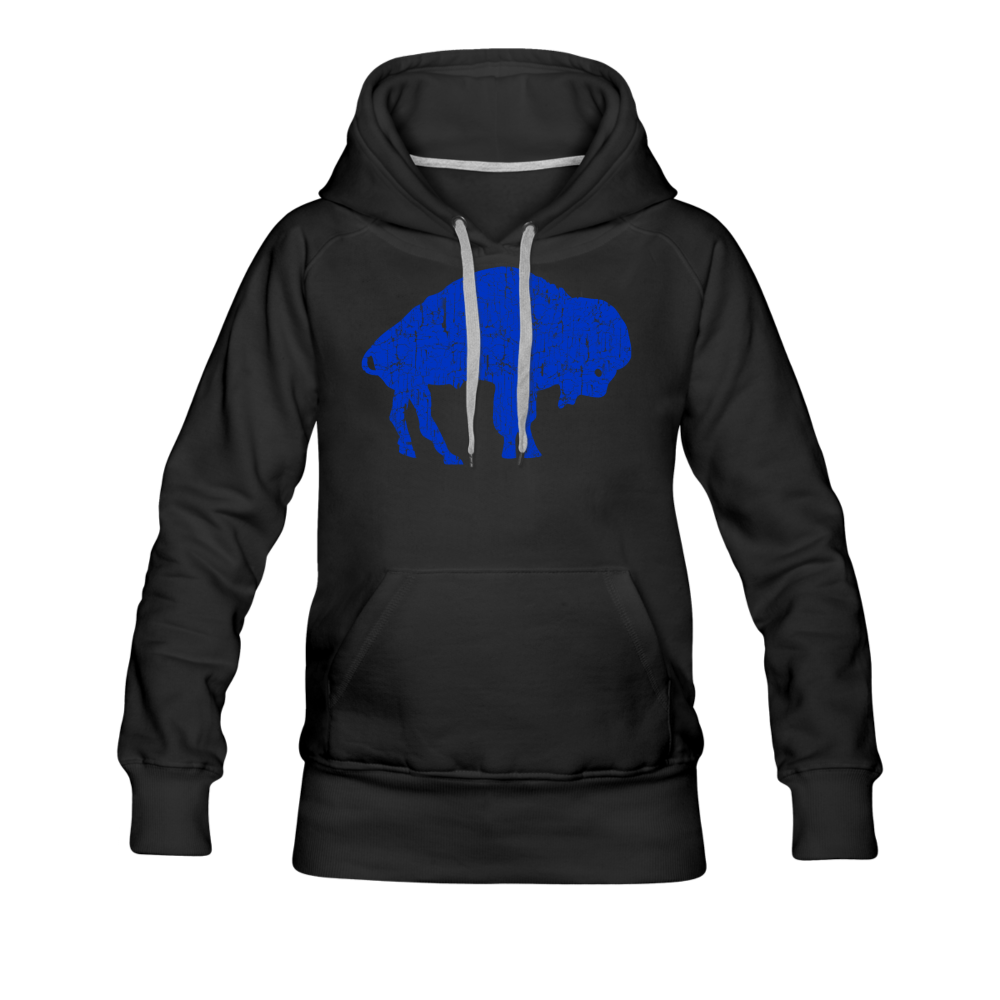 Women's Blue Bison Premium Hoodie - black