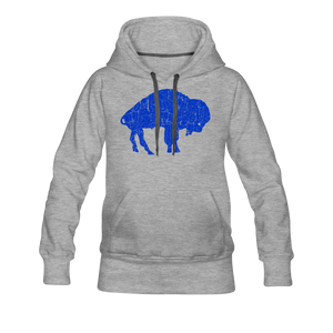 Women's Blue Bison Premium Hoodie - heather gray