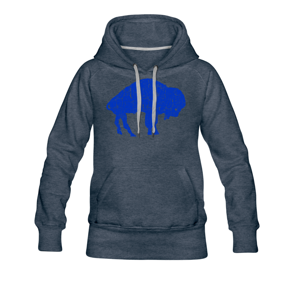 Women's Blue Bison Premium Hoodie - heather denim