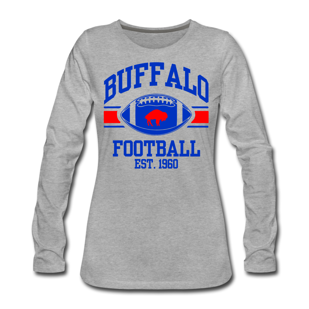 Women's Football Premium Long Sleeve T-Shirt - heather gray