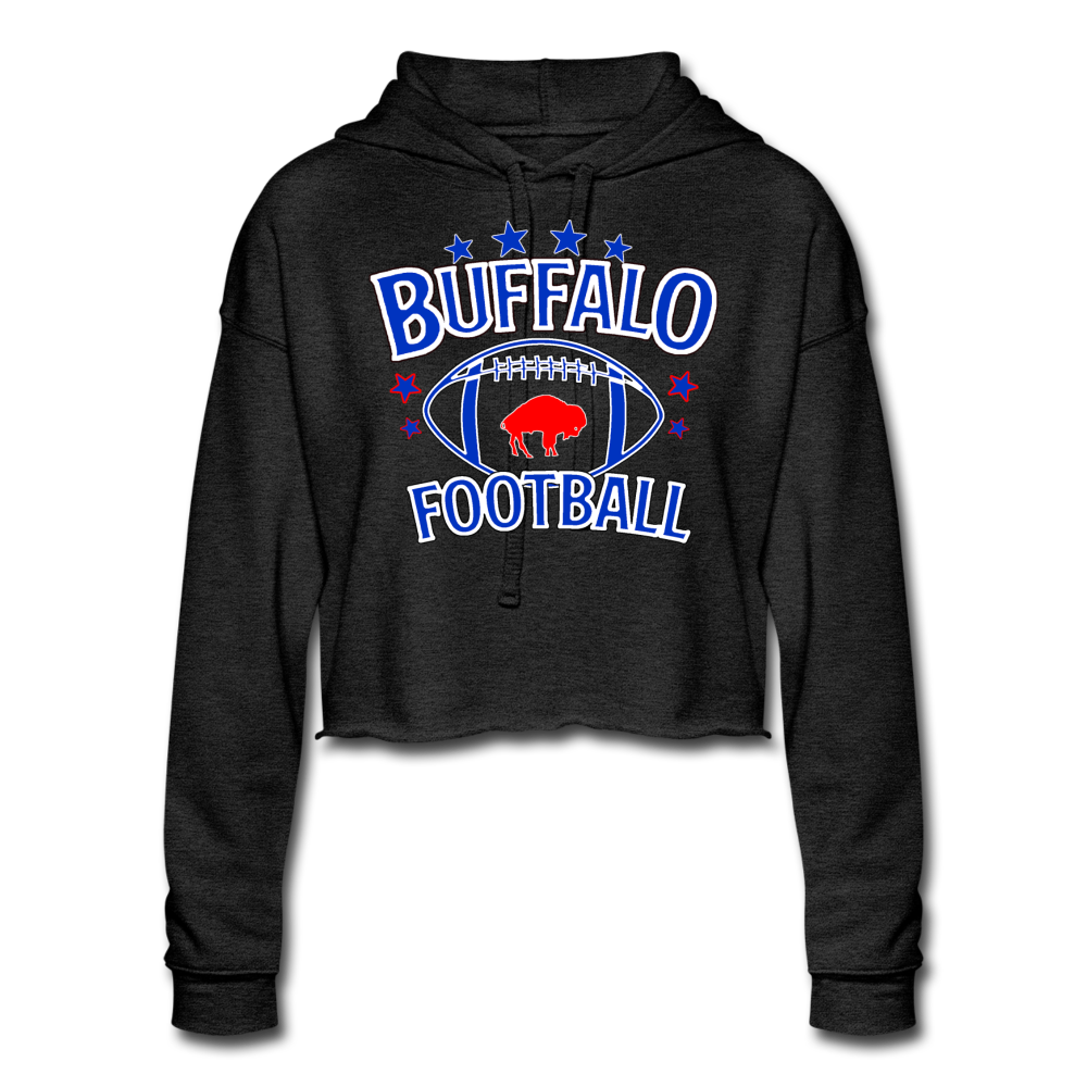 Women's Retro Football Cropped Hoodie - deep heather