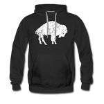 Men's White Bison Premium Hoodie - black