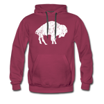 Men's White Bison Premium Hoodie - burgundy