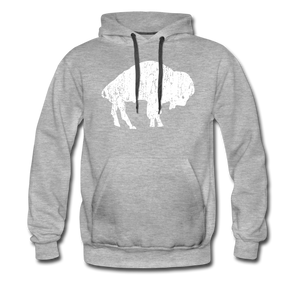Men's White Bison Premium Hoodie - heather gray