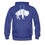 Men's White Bison Premium Hoodie - royalblue