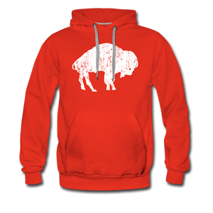 Men's White Bison Premium Hoodie - red