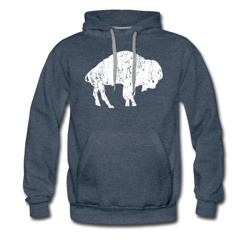 Men's White Bison Premium Hoodie - heather denim