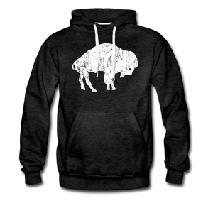 Men's White Bison Premium Hoodie - charcoal gray