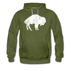 Men's White Bison Premium Hoodie - olive green