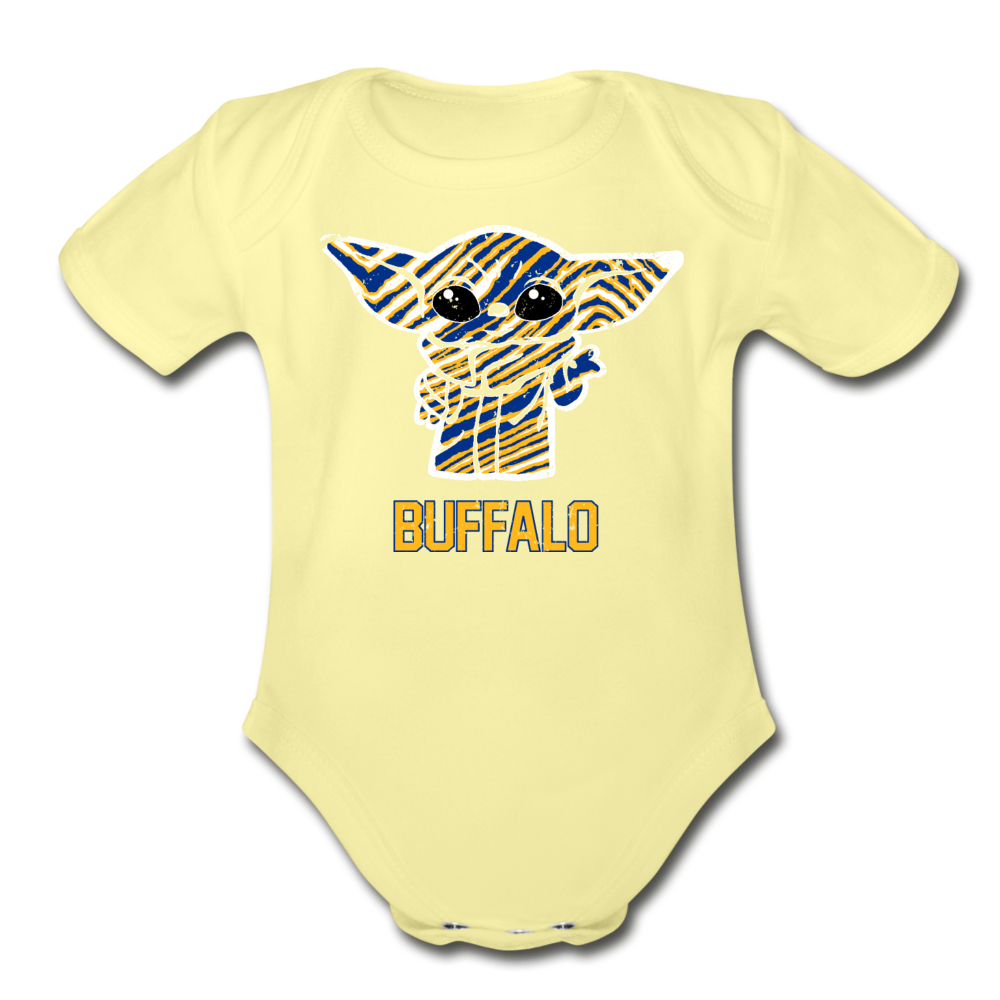 Organic Hockey Yoda Baby Onesie - washed yellow