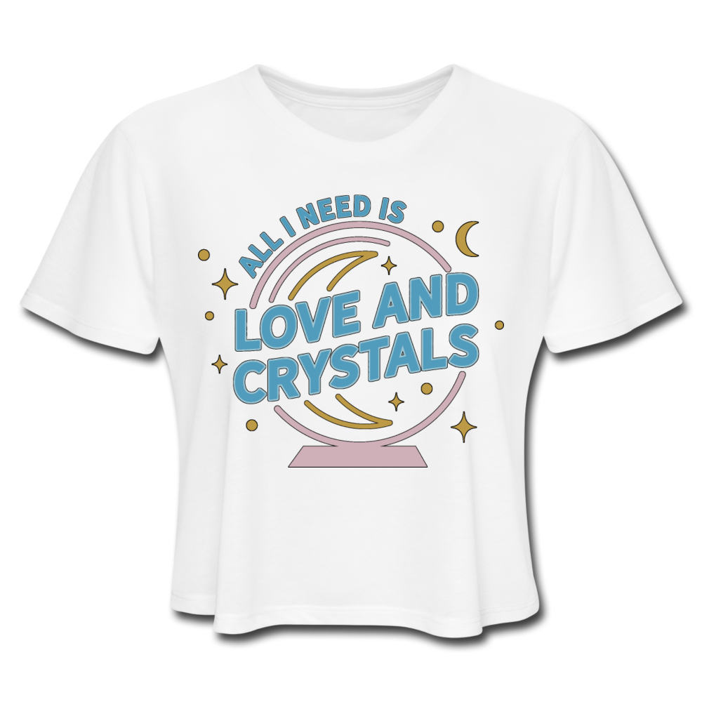 Women's Love & Crystals Cropped T-Shirt - white