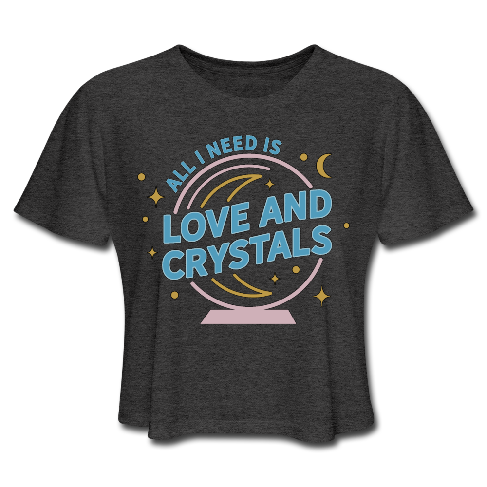 Women's Love & Crystals Cropped T-Shirt - deep heather