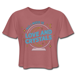 Women's Love & Crystals Cropped T-Shirt - mauve