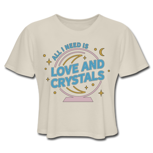 Women's Love & Crystals Cropped T-Shirt - dust