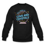 Unisex Love & Crystals Crewneck Sweatshirt - black